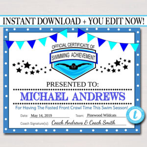 Editable Swim Team Award Certificates, Instant Download, Swimming Awards,  Swimmer Party Printable, Printable Award Sports Swim Certificates throughout Swimming Award Certificate Template