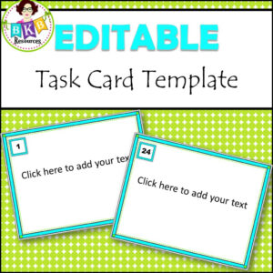 Editable Task Card Templates - Bkb Resources for Task Card Template