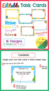 Editable Task Card Templates Seasonal Themed | My Products with regard to Task Card Template