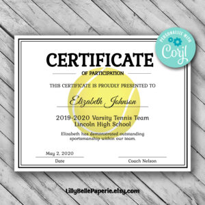 Editable Tennis Certificate Template – Printable Certificate Template –  Tennis Certificate Template Personalized Diploma Certificate pertaining to Tennis Certificate Template Free