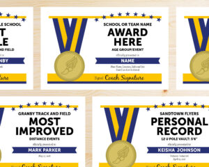 Editable Track And Field Award Certificates – Instant Download Printable –  Blue And Gold within Track And Field Certificate Templates Free