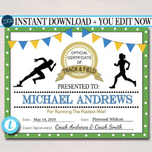 Editable Track & Field Award Certificates, Instant Download, Track Awards,  Track Party Printable, Printable Award Sports Runner Certificates within Track And Field Certificate Templates Free