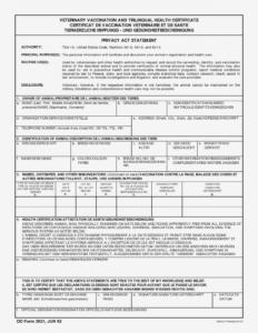 Editable Veterinary Health Certificate Template pertaining to Veterinary Health Certificate Template