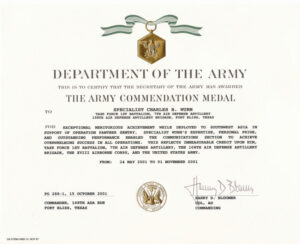 Education / Awards inside Army Good Conduct Medal Certificate Template