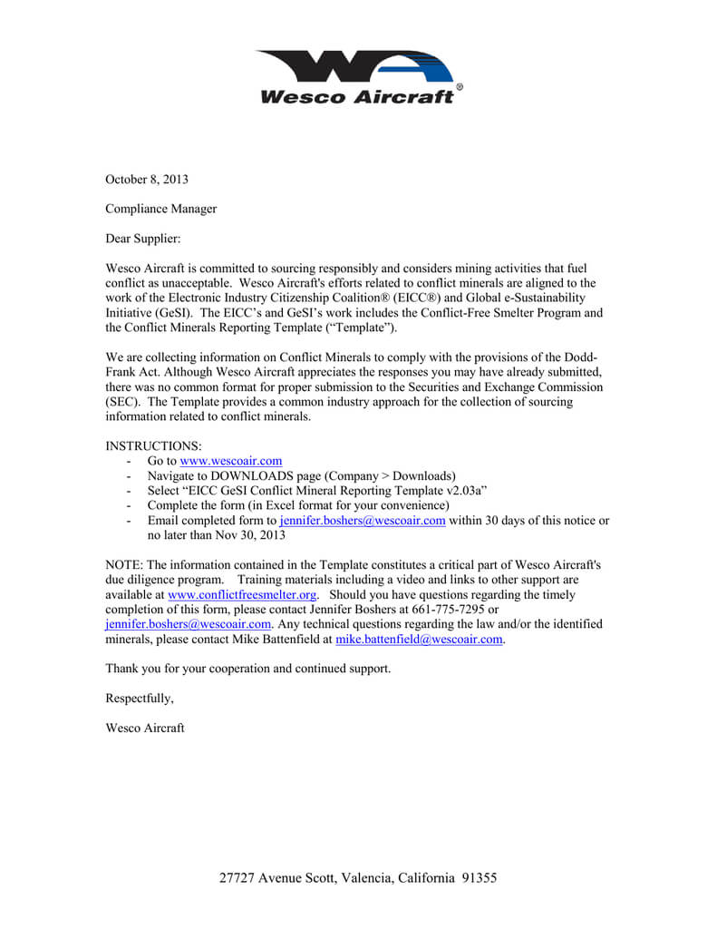 Eicc Gesi Conflict Mineral Reporting Notice Oct 2013 In Eicc Conflict Minerals Reporting Template