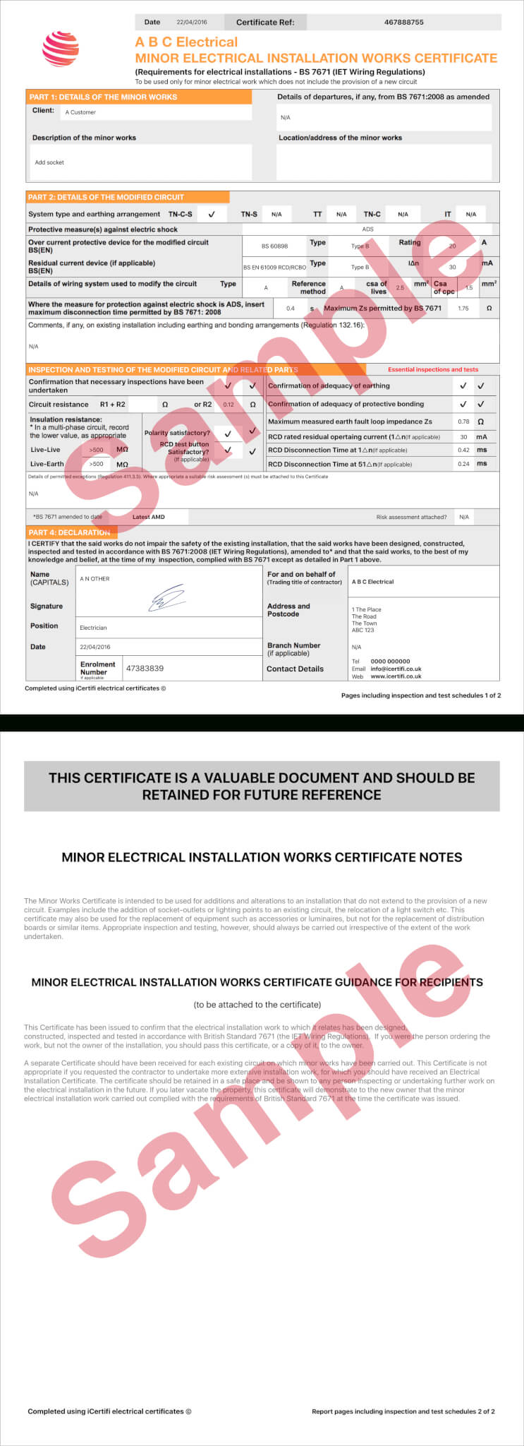 Electrical Certificate - Example Minor Works Certificate For Electrical Minor Works Certificate Template