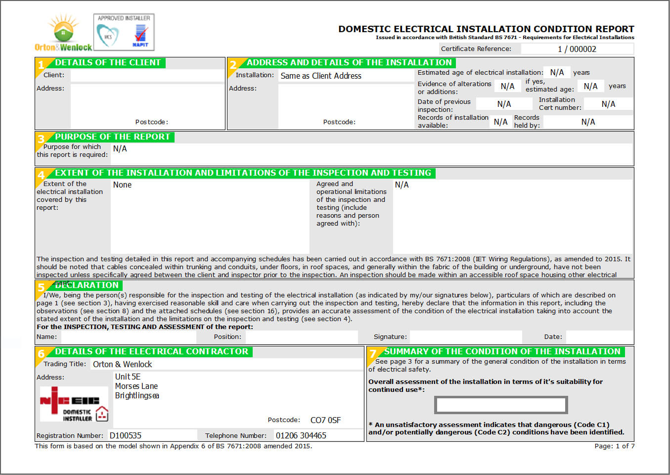 Electrical Installation Condition Reports For Electrical Installation Test Certificate Template