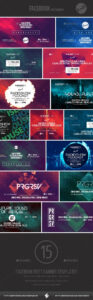 Electronic Music Event Facebook Post Banner Templates Psd with Event Banner Template