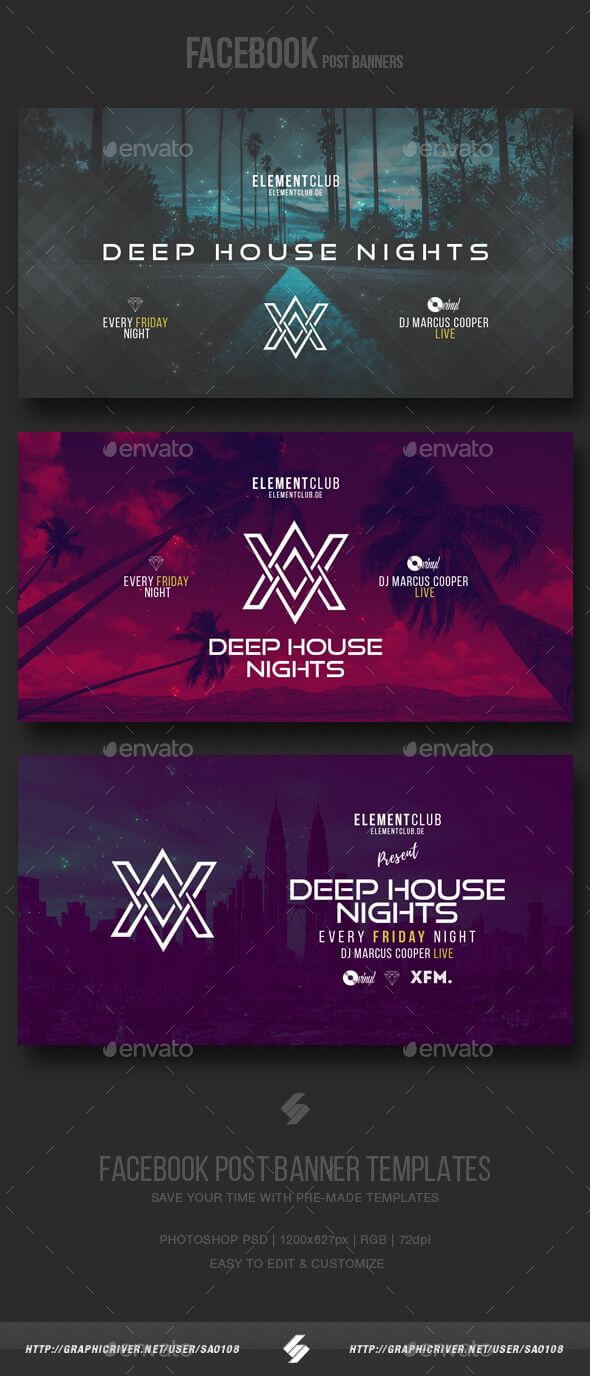 Electronic Music Party - Facebook Post Banner Templates Psd Inside Facebook Banner Template Psd