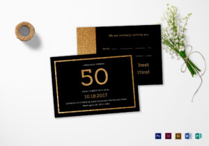 Elegant Black And Gold 50Th Birthday Invitation Template for Birthday Card Template Indesign