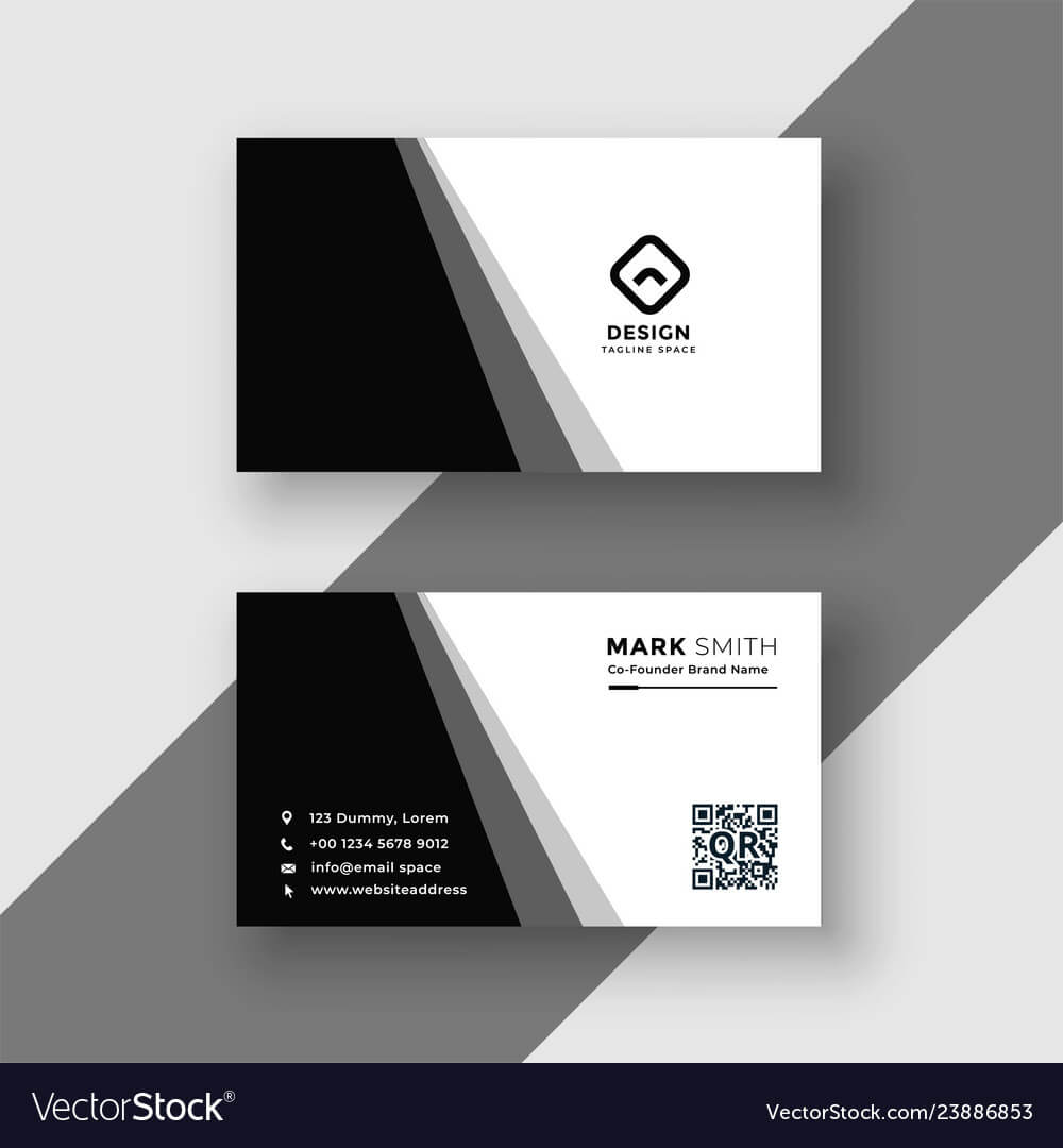 Elegant Black And White Business Card Template Regarding Black And White Business Cards Templates Free
