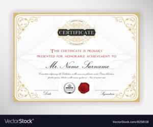 Elegant Certificate Template Design with regard to Elegant Certificate Templates Free