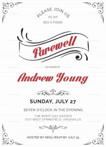 Elegant Farewell Party Invitation Template for Farewell Card Template Word