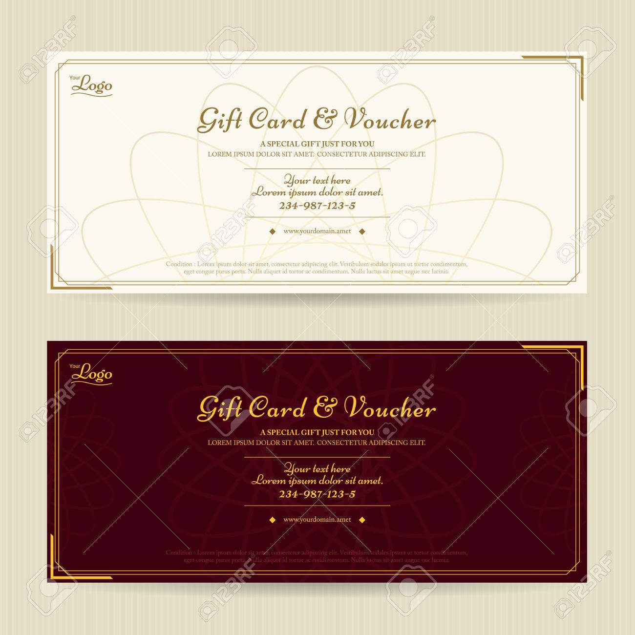 Elegant Gift Voucher Or Gift Card Template With Gold Border Throughout Elegant Gift Certificate Template