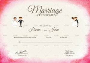 Elegant Marriage Certificate Template intended for Certificate Of Marriage Template