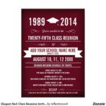 Elegant Red Class Reunion Invitations | Zazzle | Class In Reunion Invitation Card Templates