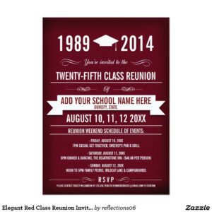 Elegant Red Class Reunion Invitations | Zazzle | Class in Reunion Invitation Card Templates