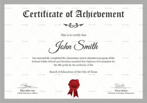 Elementary Diploma Certificate Template for Officer Promotion Certificate Template