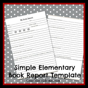 Elementary Level Book Report Template – Teach Beside Me with Story Report Template