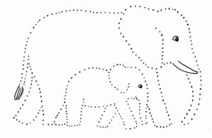 Elephant And Baby Dot Drawing – Samantha Bell | Baby Stuff regarding Blank Elephant Template