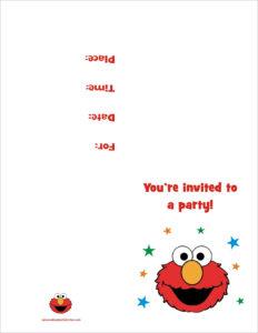 Elmo Free Printable Birthday Party Invitation Personalized inside Elmo Birthday Card Template