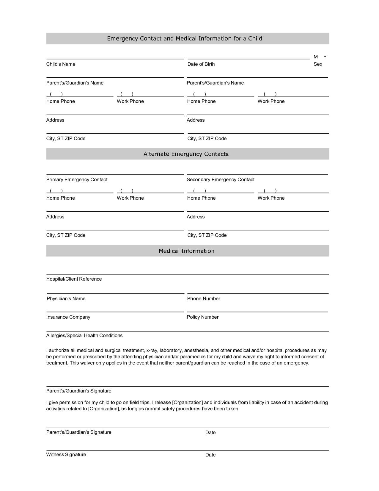 Emergency Contact Information Form Template | Printables Intended For Student Information Card Template