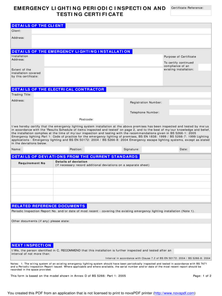 Emergency Lighting Installation Certificate – Fill Online Inside Electrical Installation Test Certificate Template