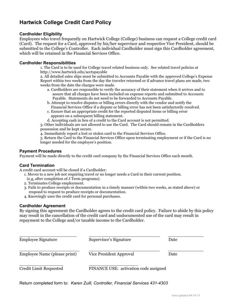 Employee Credit Card Agreement Template Word Uk Hartwick With Regard To Corporate Credit Card Agreement Template