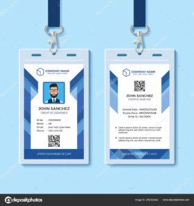 Employee Id Card Design Template | Blue Employee Id Card Within Company Id Card Design Template