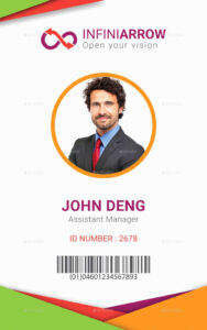 Employee Id Card Template Cdr for Portrait Id Card Template