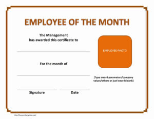 Employee Of The Month Certificate inside Manager Of The Month Certificate Template
