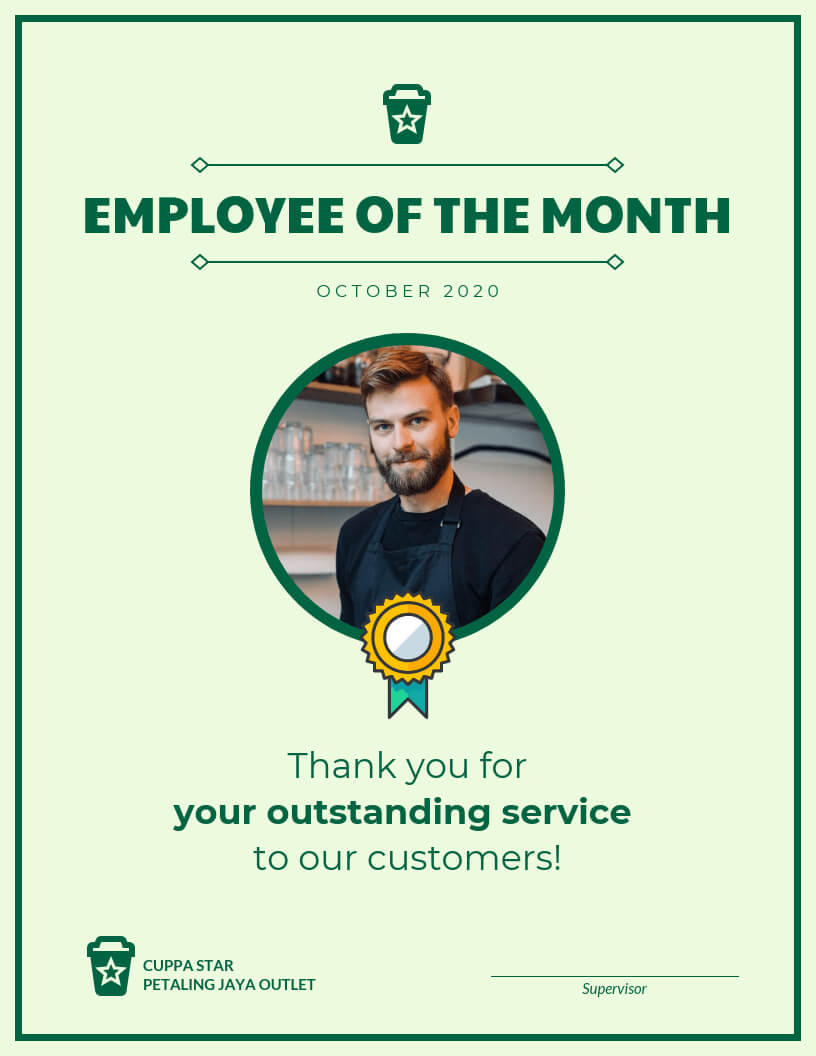Employee Of The Month Certificate Template Template - Venngage Throughout Employee Of The Month Certificate Template With Picture