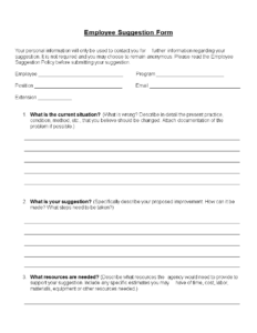Employee Suggestion Form Word Format | Templates At Throughout Word Employee Suggestion Form Template