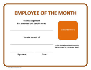 Employee The Month Certificate Template Free Microsoft Word throughout Employee Of The Month Certificate Template With Picture