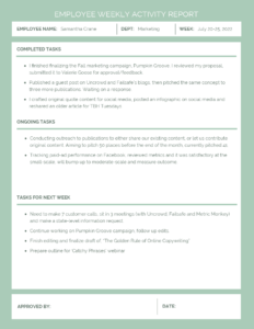 Employee Weekly Activity Report Template – Venngage In Marketing Weekly Report Template