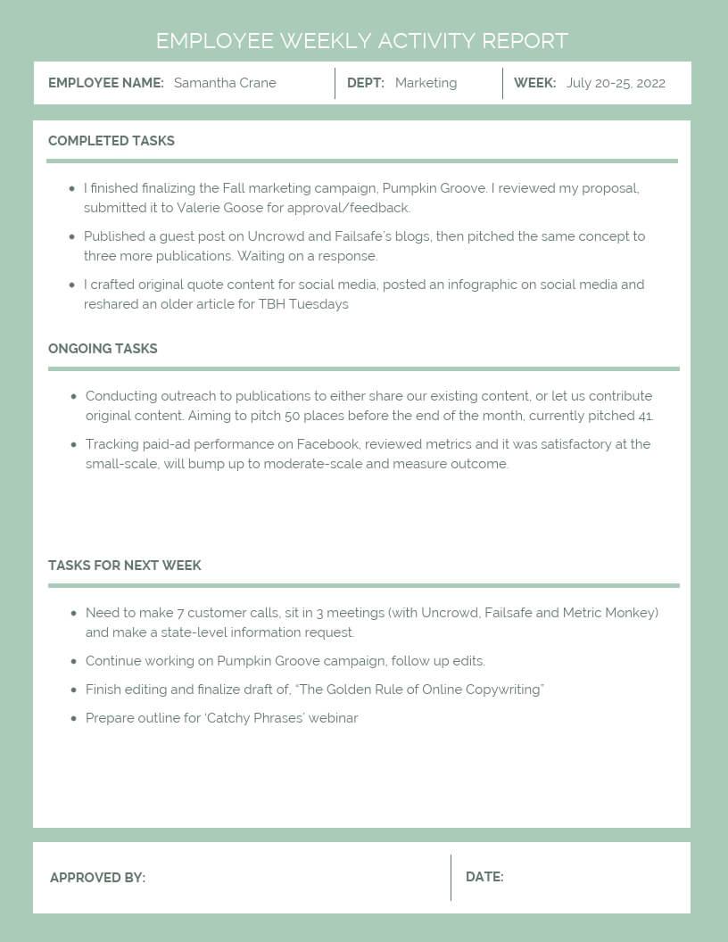 Employee Weekly Activity Report Template - Venngage In Weekly Activity Report Template