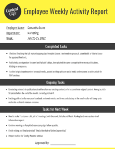 Employee Weekly Report Template – Venngage Regarding Marketing Weekly Report Template