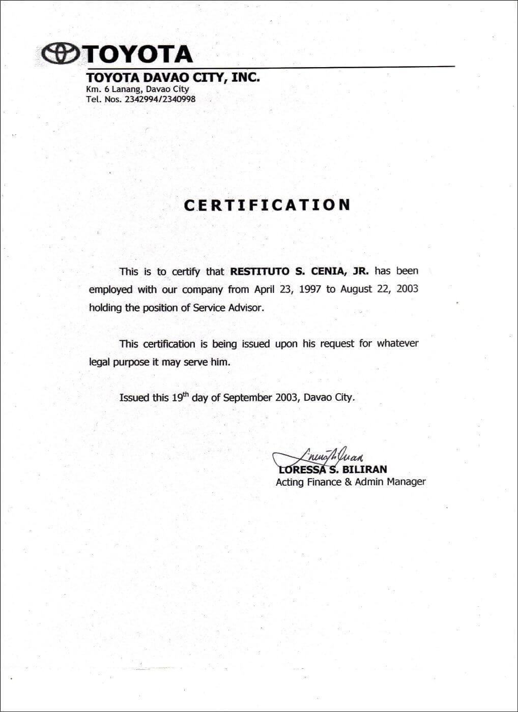 Employment Certificate Sample Best Templates Pinterest Pertaining To Template Of Certificate Of Employment