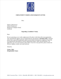 Employment Verification Letter Sample Verification Of within Employment Verification Letter Template Word