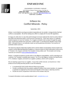 Enfasco Inc Enfasco Inc. Conflict Minerals – Policy throughout Eicc Conflict Minerals Reporting Template