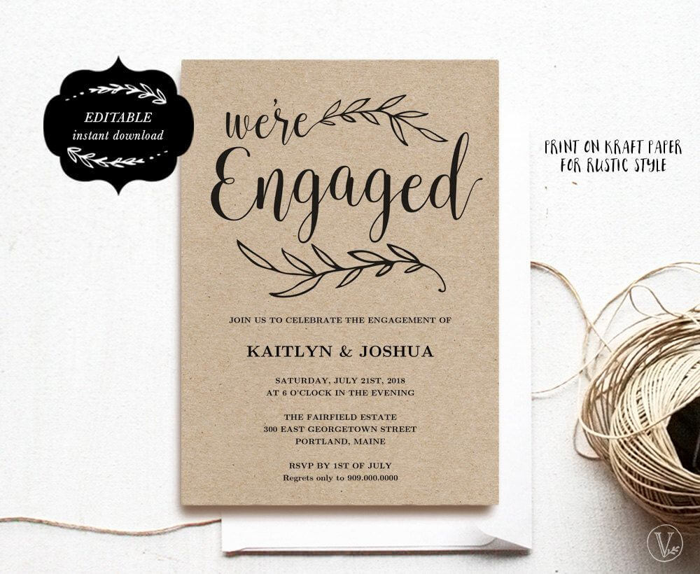 Engagement Invitation Template, Printable Engagement Party With Regard To Engagement Invitation Card Template