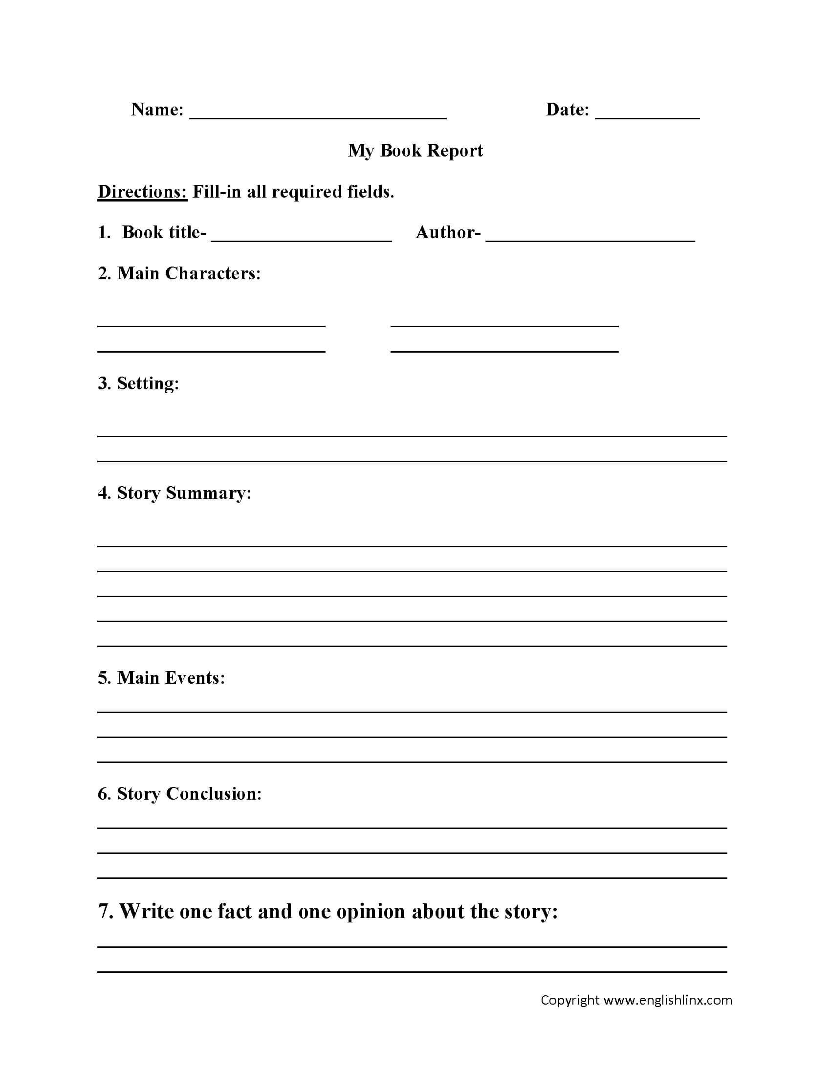 Englishlinx | Book Report Worksheets Pertaining To Book Report Template 5Th Grade