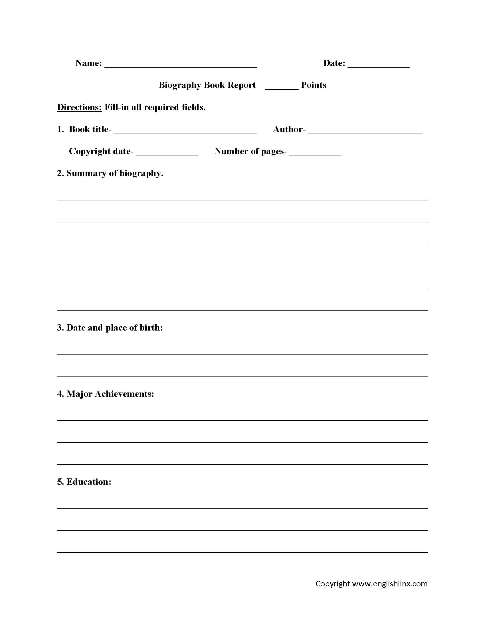 Englishlinx   Book Report Worksheets With Regard To One Page Book Report Template