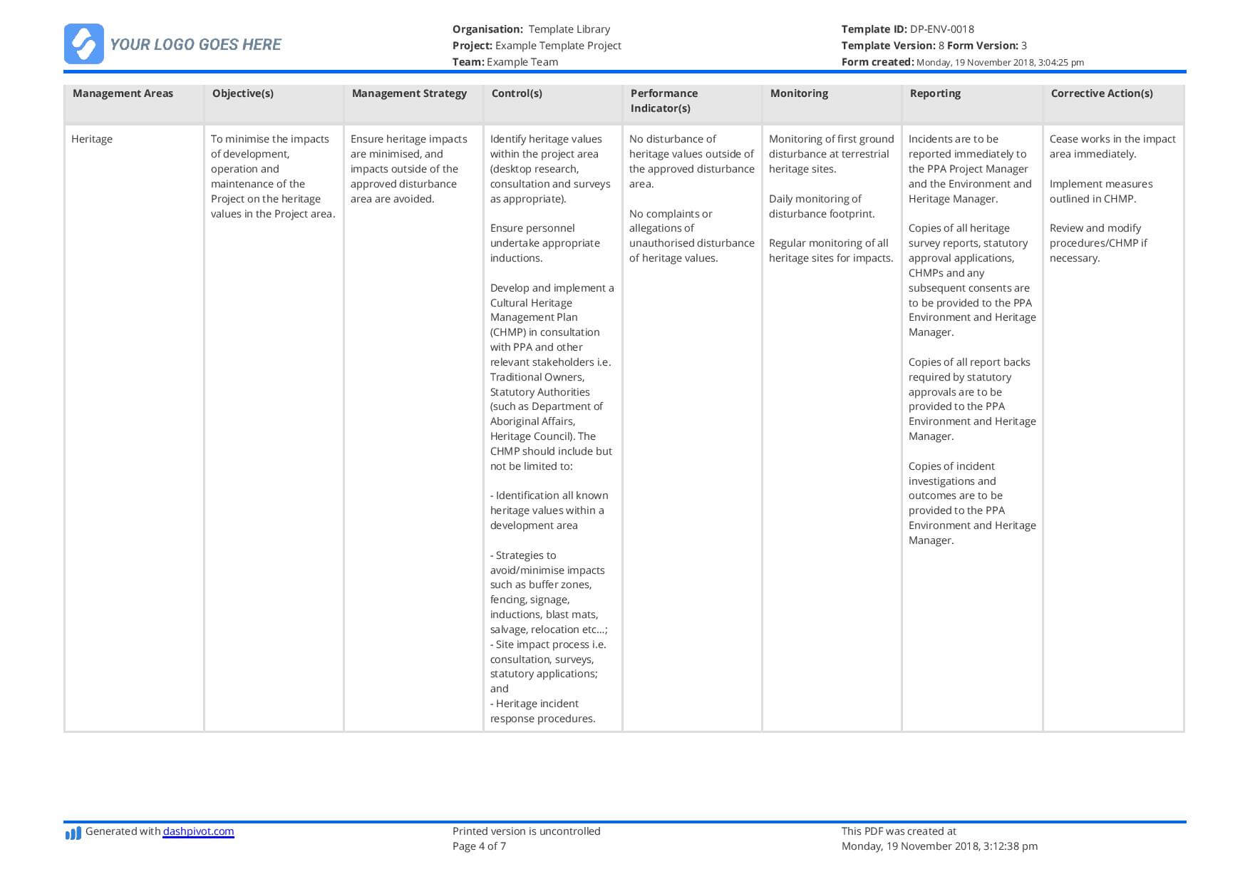 Environmental Management Plan Template (For Construction In Environmental Impact Report Template