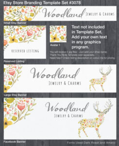 Etsy Banner And Store Branding Floral Watercolor Diy Template – #3078 inside Etsy Banner Template