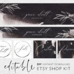 Etsy Banner Template, Etsy Shop Banner, Etsy Shop Set, Branding Kit, Dark  Branding, Floral Line Art, Botanical Logo, Shop Kit, Etsy Branding Throughout Etsy Banner Template
