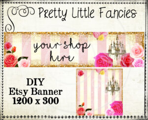 Etsy Shop Banner Diy Banner Template Premade Etsy Store Large Banner And  Icon Gold Glitter Digital Roses Chandelier with Etsy Banner Template