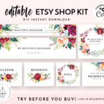 Etsy Shop Banner Set, Etsy Shop Kit, Etsy Shop Graphics, Store Icon, Banner  Template, Corjl Editable Banners, Etsy Banners Diy, Watercolor In Etsy Banner Template