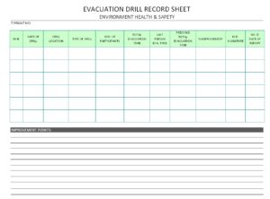 Evacuation Drill Record Sheet – in Fire Evacuation Drill Report Template