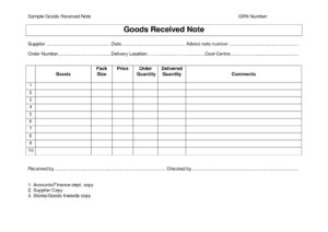 Every Bit Of Life Goods Receipt Note (Grn) Format intended for Proof Of Delivery Template Word